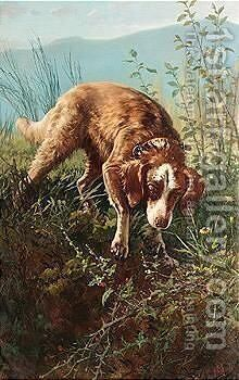 Dog in briars by Carlo Ademollo - Reproduction Oil Painting