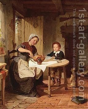 Meal time by Alfred Mudge - Reproduction Oil Painting