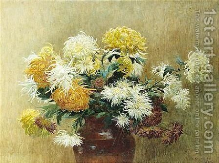 Chrysanthemums by Clara Knight - Reproduction Oil Painting