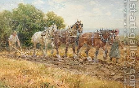 Spring Ploughing by Arthur Hopkins - Reproduction Oil Painting