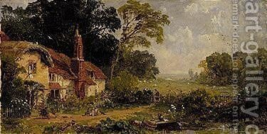 The four seasons, Cottage in a landscape by Jasper Francis Cropsey - Reproduction Oil Painting