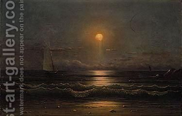 Sailing by moonlight 2 by Martin Johnson Heade - Reproduction Oil Painting