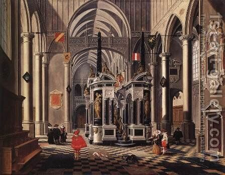 The Tomb Of William The Silent In An Imaginary Church 1620 by Bartholomeus Van Bassen - Reproduction Oil Painting