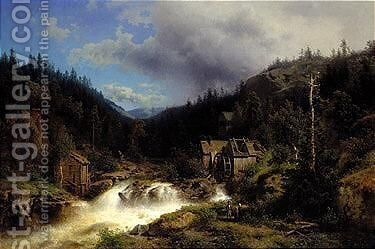 Landscape with a watermill by Herman Herzog - Reproduction Oil Painting