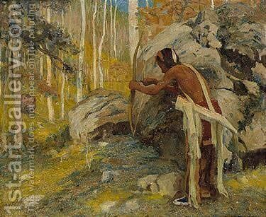 Hunting the turkey in the Aspens by Eanger Irving Couse - Reproduction Oil Painting