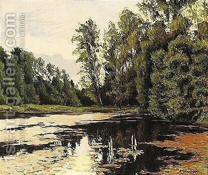 Reflections in a woodland lake by Andrei Nikolaevich Shilder - Reproduction Oil Painting