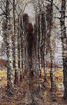 Avenue of birch trees by Iulii Iul'evich (Julius) Klever - Reproduction Oil Painting