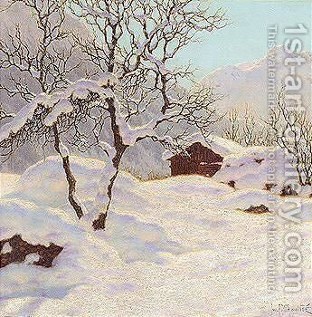 Mountain cabin under snow by Ivan Fedorovich Choultse - Reproduction Oil Painting