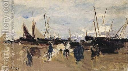 Barcas En La Playa (Boats On The Beach) 3 by Joaquin Sorolla y Bastida - Reproduction Oil Painting