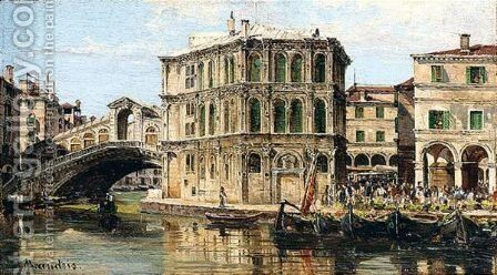 The Rialto Bridge by Antonietta Brandeis - Reproduction Oil Painting