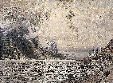 Fjord Landscape by Adelsteen Normann - Reproduction Oil Painting