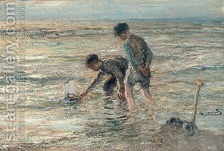 Children Playing On The Beach 2 by Bernardus Johannes Blommers - Reproduction Oil Painting
