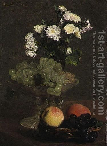 Nature Morte, Fleurs Et Fruits by Ignace Henri Jean Fantin-Latour - Reproduction Oil Painting