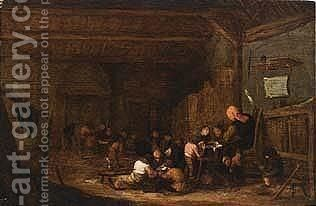 A teacher with his school class by (after) Adriaen Jansz. Van Ostade - Reproduction Oil Painting