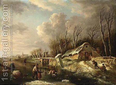 A Winter Scene With Skaters On A River, Two Children Sleigh Riding On A by Andries Vermeulen - Reproduction Oil Painting