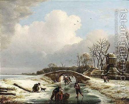 A Winter Landscape With Figures Skating Near A Windmill by Andries Vermeulen - Reproduction Oil Painting