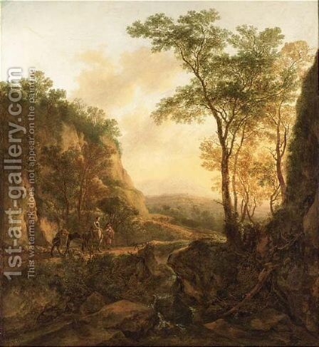 A Mountainous Wooded by Jan Dirksz. Both - Reproduction Oil Painting