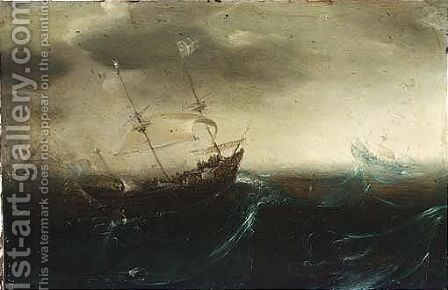 Galleons On Stormy Seas by (after) Andries Van Eertvelt - Reproduction Oil Painting