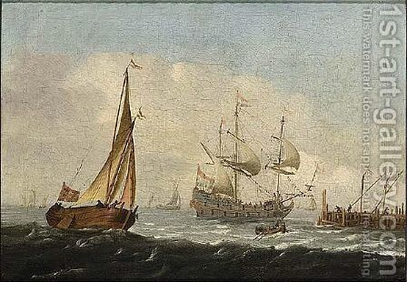 A Merchantman, A Wijdschip, And A Rowing Boat In A Breeze by (after) Aernout Smit - Reproduction Oil Painting