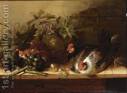 A Still Life With Two Hens by Balthasar Huys - Reproduction Oil Painting