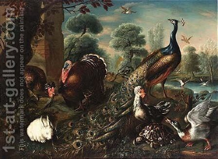 Ducks In A Pool In The Background, All In A Park Landscape by David de Coninck - Reproduction Oil Painting