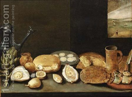 A Pewter Jug, Oysters, Lemons by (after) Frans II Francken - Reproduction Oil Painting