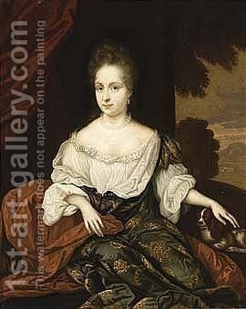 A Portrait Of A Lady, Seated Three Quarter Length, Wearing A Green by Jan van Haensbergen - Reproduction Oil Painting