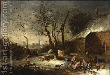 Slaughtering A Pig Near A Well by (after) Theobald Michau - Reproduction Oil Painting