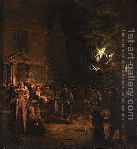 A Street Scene With Figures Standing Around A Tar-barrel by Egbert Lievensz. Van Der Poel - Reproduction Oil Painting
