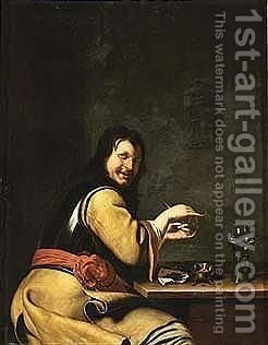 A soldier preparing a pipe by (after) Frans Van The Elder Mieris - Reproduction Oil Painting