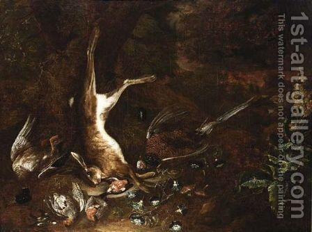 A Hunting Still Life With A Duck, A Hare, A Partridge, A Pheasant songbirds, morning glory and fly agarics in a forest by (after) Johann Georg Hamilton - Reproduction Oil Painting