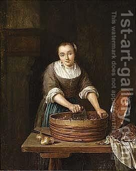 A Maid Chopping Red Cabbage by Caspar Netscher - Reproduction Oil Painting