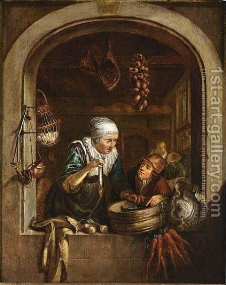 A woman showing a herring to a boy in a window by (after) Dominicus Van Tol - Reproduction Oil Painting