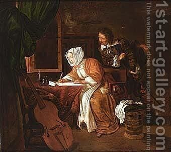 A lady writing a letter with a man looking over her shoulder by (after) Gabriel Metsu - Reproduction Oil Painting
