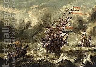 A Man-of-war And Other Sailing Vessels In Stormy Waters by (after) Wigerus Vitringa - Reproduction Oil Painting
