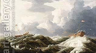 A sailing vessel and a galleon in stormy seas by Dutch School - Reproduction Oil Painting