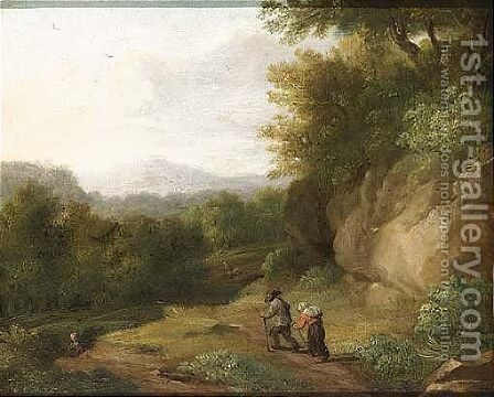 Travellers on a path in a wooded landscape by (after) Jaques D'Arthois - Reproduction Oil Painting