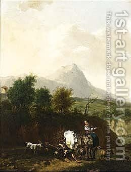 A mountainous landscape with shepherds and their herd resting by (after) Nicolaes Berchem - Reproduction Oil Painting