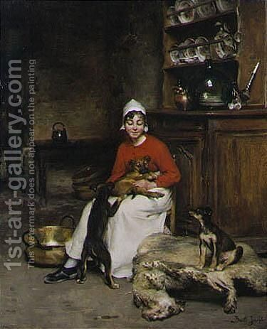 The Kitchen Maid With Three Puppies by Claude Joseph Bail - Reproduction Oil Painting