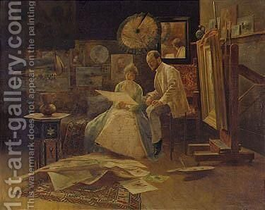 The Studio by Bertalan Karlovszky - Reproduction Oil Painting