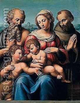 The Madonna And Child With The Infant Saint John The Baptist And Saints Jerome And Francis by Innocenzo Franucci (Innocenzo Da Mola) - Reproduction Oil Painting