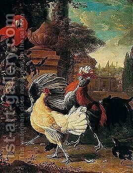Cockerels, A Hen, And A Parrot In A Garden by (after) Melchior De Hondecoeter - Reproduction Oil Painting