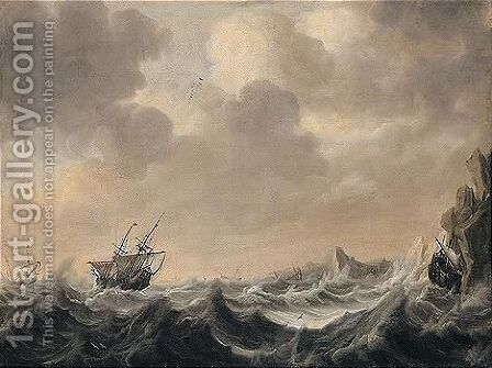 A Seascape With Men-of-war In A Stormy Sea by (after) Simon De Vlieger - Reproduction Oil Painting