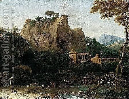 A Classical Landscape With Figures Beside A Lake by (after) Jean-Francois Millet - Reproduction Oil Painting