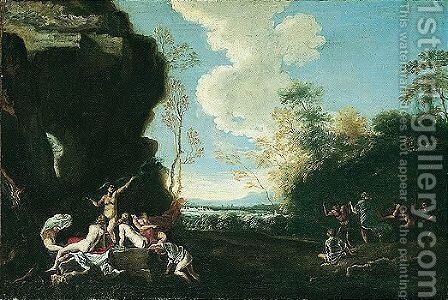A river landscape with nymphs bathing and satyrs dancing by Neapolitan School - Reproduction Oil Painting