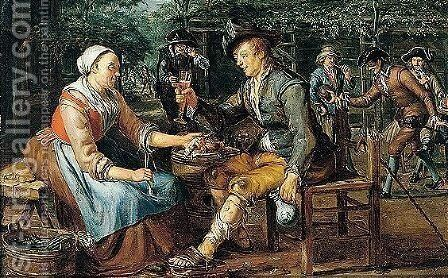Figures Outside A Tavern, With A Lady Offering An Onion And Herring To A Young Man, Others Playing Skittles Beyond by Matthijs Naiveu - Reproduction Oil Painting