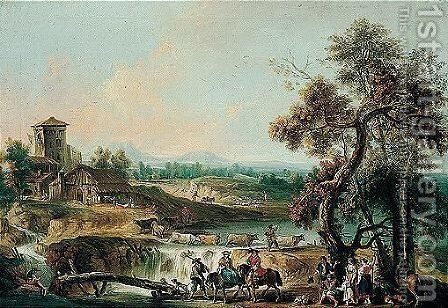 A river landscape with elegant travellers and other figures by a wooden bridge by Giovanni Battista Tiepolo - Reproduction Oil Painting