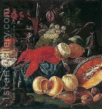 Still life of lobster, fruit, nuts, oysters and bread, together with a wine bottle, a roemer and a wine glass by (after) Jacob Caproens - Reproduction Oil Painting
