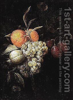 Still life of grapes, oranges, plums and other fruit and flowers by (after) Joris Van Son - Reproduction Oil Painting