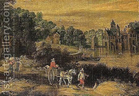 River landscape with waggoners on a path, a manor house beyond by (after) Frans De Momper - Reproduction Oil Painting